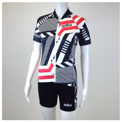 Female Cycling Jersey Red Geo Front Mannequin