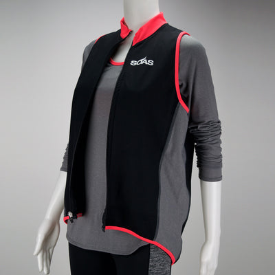 Female Running Vest Basic Coral Front Zipper