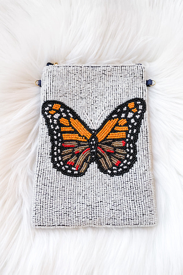 Monarch Butterfly Beaded Bag
