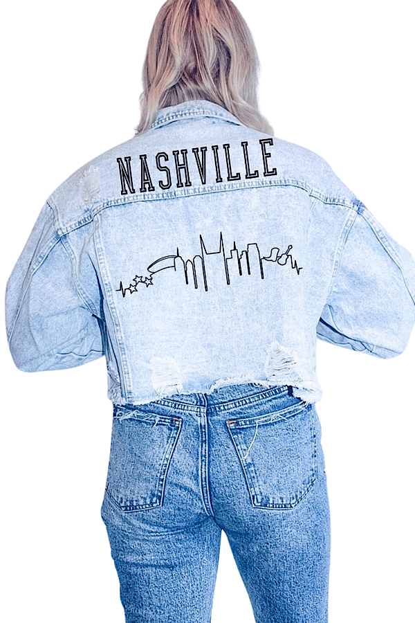 Nashville Skyline Crop Denim Jacket