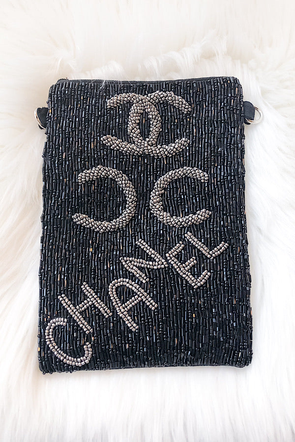 CC Logo Beaded Bag in Black/Silver