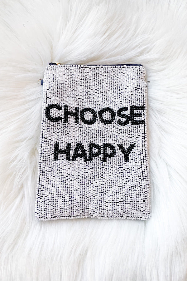 Choose Happy Beaded Bag