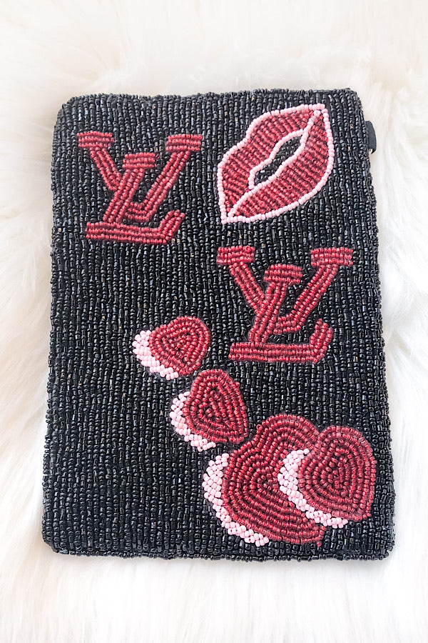 Lips Valentine Beaded Bag