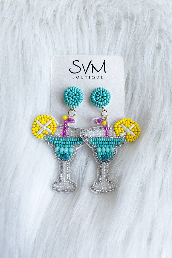 Margarita Sippin' Beaded Earrings
