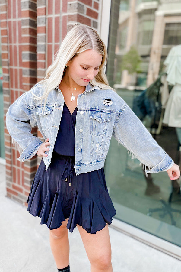 Bright Lights Fringe Denim Jacket