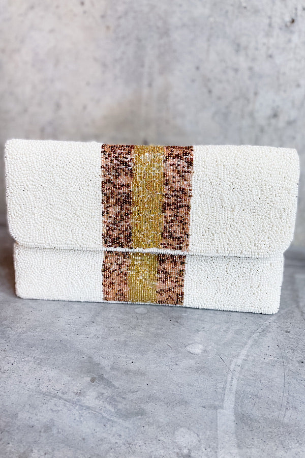 Siena Stripe Beaded Clutch