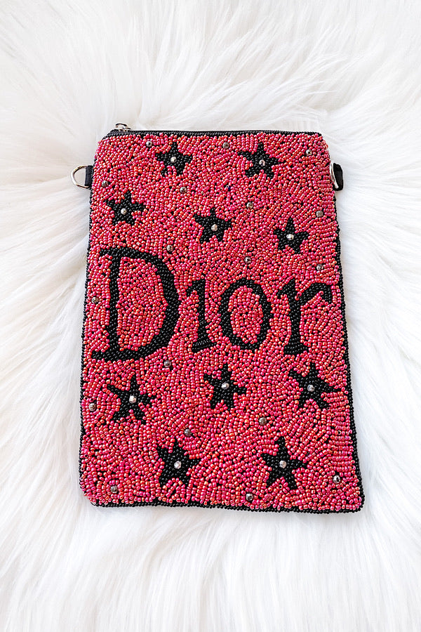 D Beaded Bag in Red