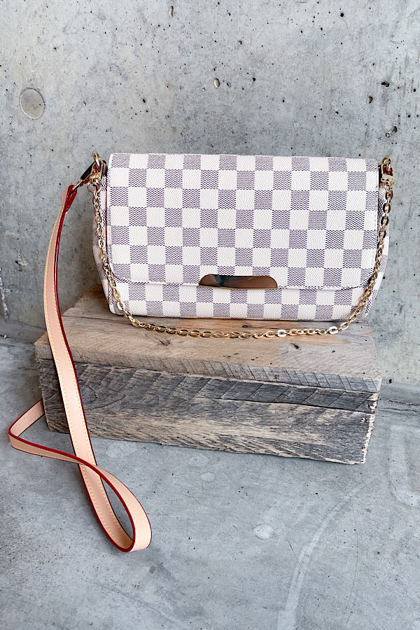 Sophie Checkered Handbag in White