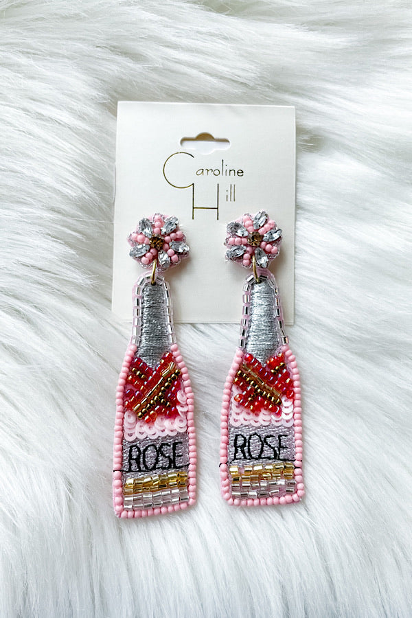 Rose Bottle Beaded Earrings