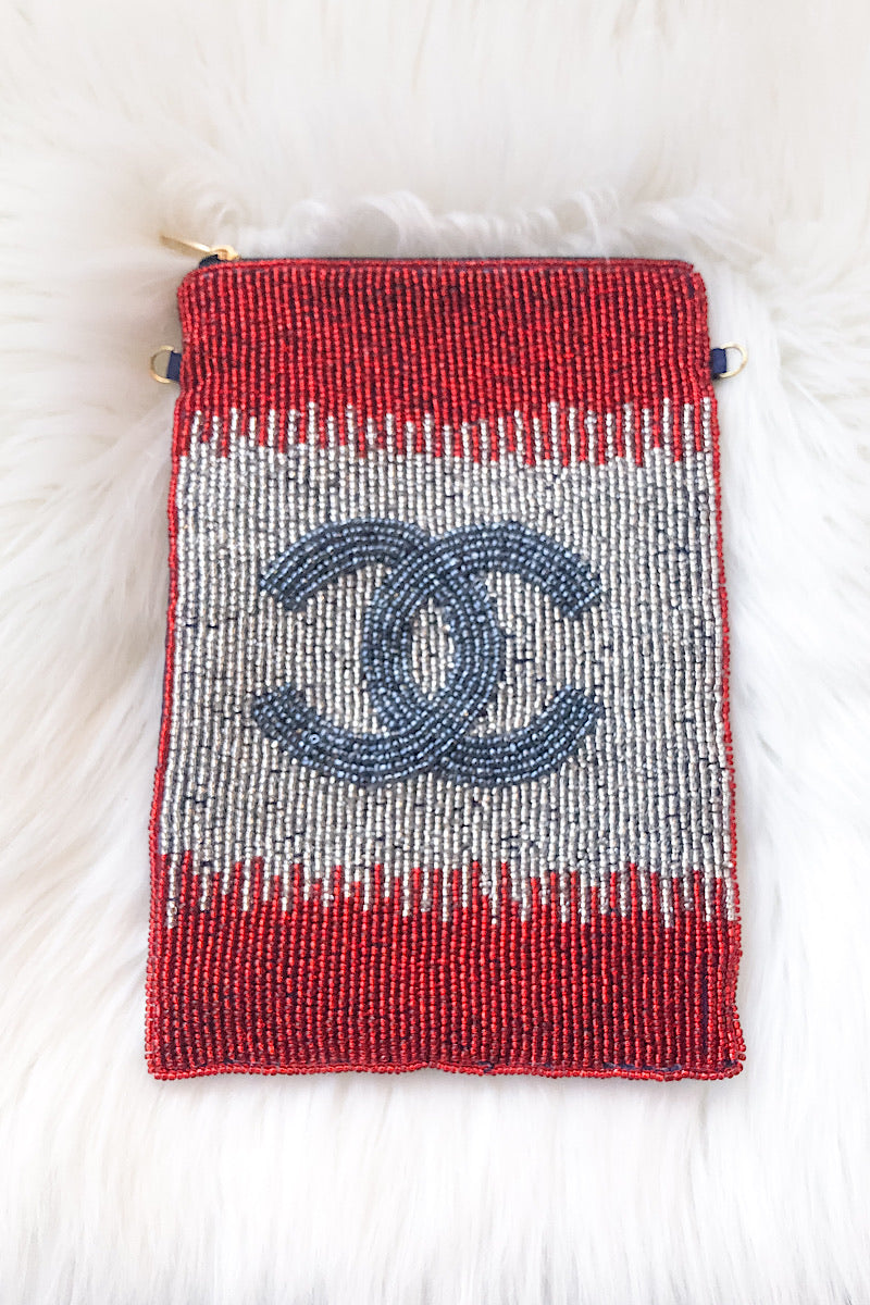CC Beaded Bag in Red