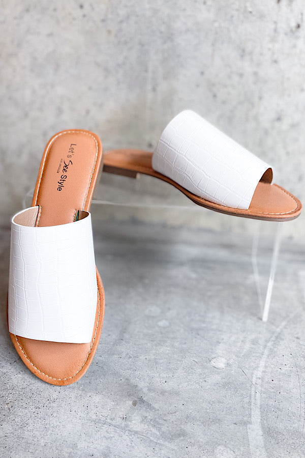 Slip Into Spring Slides in White Croc