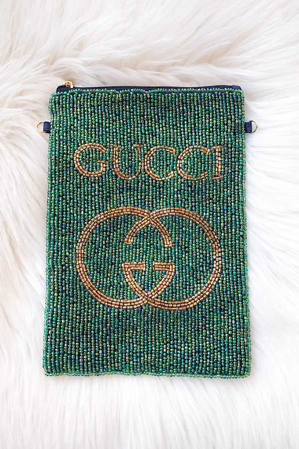 G Beaded Bag in Green/Gold