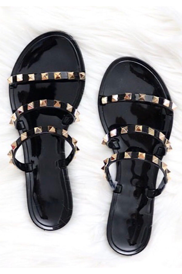Such A Stud Sandals in Black - RTS 3/9