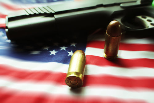 American Flag With Bullets & Gun Zoom Burst High Quality