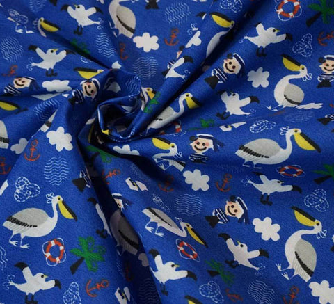 Poly Cotton Fabric - Pelican & Sailor (Royal Blue)