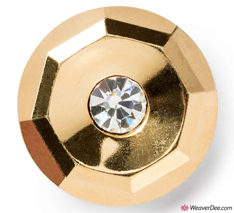 Gold with Crystal Stone Button 14 mm
