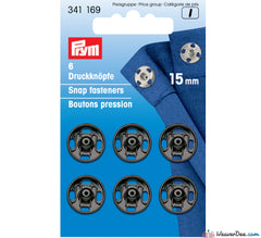 Prym - Press Studs (Sew-On) - Black Metal 15mm - Pack of 6 - WeaverDee.com Sewing & Crafts - 1