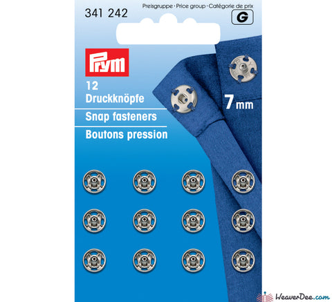 Prym - Press Studs (Sew-On) - Silver 7mm - Pack of 12 - WeaverDee.com Sewing & Crafts - 1
