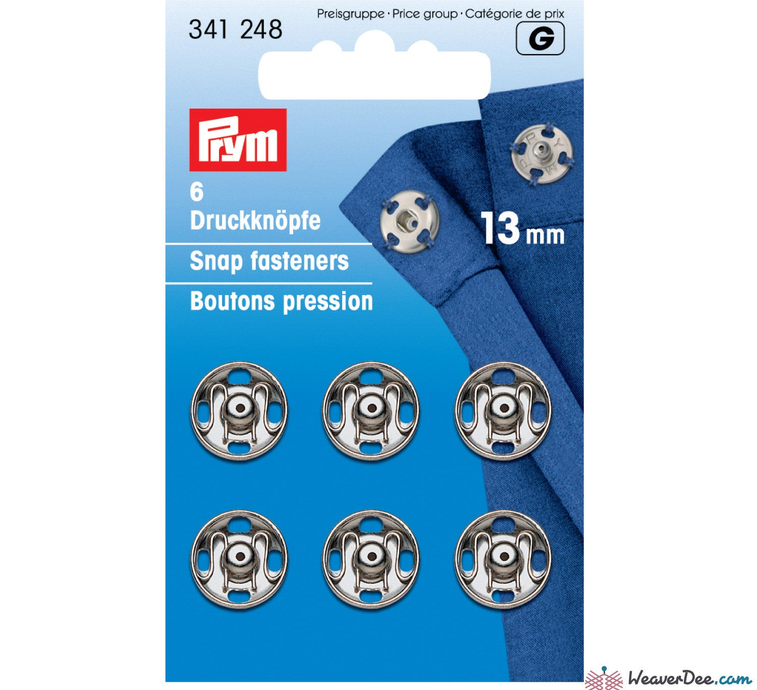 Prym - Press Studs (Sew-On) - Silver 13mm - Pack of 6 - WeaverDee.com Sewing & Crafts - 1