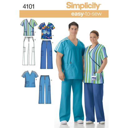 Simplicity Pattern S4101 Women & Men's Plus Size Scrubs
