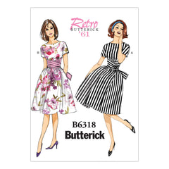 Butterick - B6318 Misses' Tie-Waist Dress | Easy - WeaverDee.com Sewing & Crafts - 1