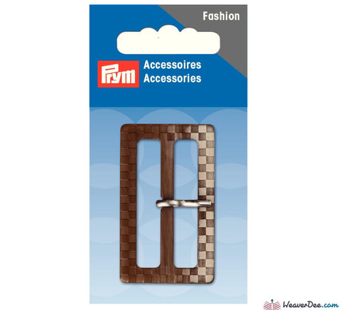 Prym - Fashion Belt Buckle 40mm Checkered / Brown - Beige - WeaverDee.com Sewing & Crafts