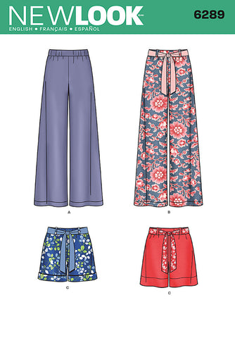New Look - NL6289 Misses' Pull-on Pants or Shorts & Tie Belt - WeaverDee.com Sewing & Crafts - 1