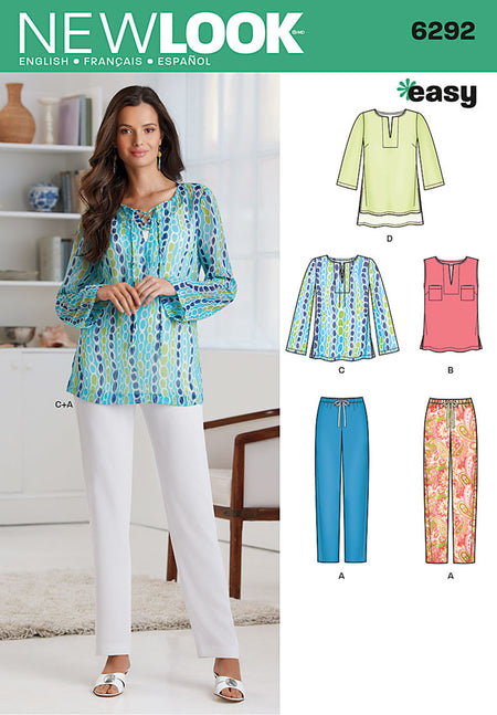 New Look - NL6292 Misses' Tunic or Top & Pull-on Pants - WeaverDee.com Sewing & Crafts - 1