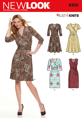 New Look - NL6301 Misses' Mock Wrap Knit Dress - WeaverDee.com Sewing & Crafts - 1