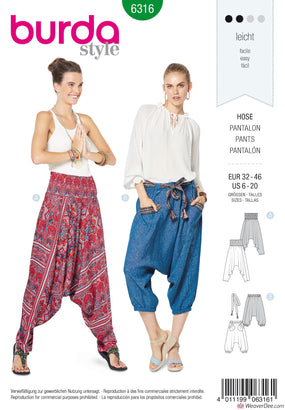 Burda Pattern BD6316 Misses' Harem Pants