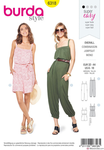 Burda Pattern BD6318 Misses' Jumpsuit