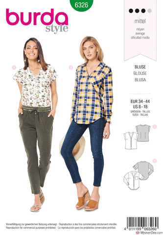Burda Pattern BD6326 Misses' V-Neck Shirt