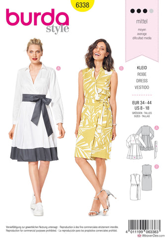 Burda Pattern BD6338 Misses' Wrap Dress