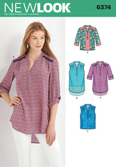 New Look - NL6374 Misses' Shirts with Sleeve & Length Options - WeaverDee.com Sewing & Crafts - 1