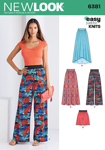 New Look - NL6381 Misses' Knit Skirts & Pants or Shorts | Easy - WeaverDee.com Sewing & Crafts - 1