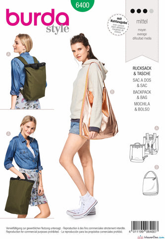 Burda Pattern BD6400 Backpack with Zipper Fastener