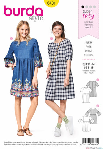 Burda Pattern BD6401 Women's Swing Dress with Sleeve Variations