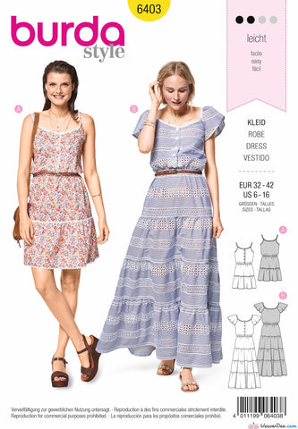 Burda Pattern BD6403 Women's Sun Dress in Length Variations