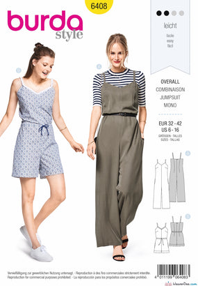 Burda Pattern BD6408 Misses Jumpsuit in Various Lengths