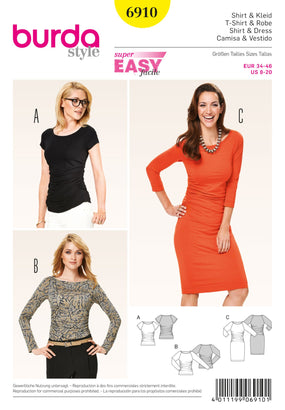 Burda - BD6910 Dresses & Tops | Easy - WeaverDee.com Sewing & Crafts - 1