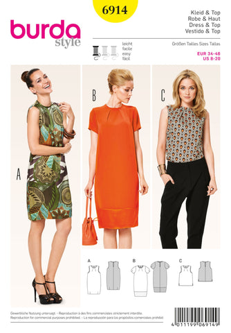 Burda - BD6914 Dress & Top | Easy - WeaverDee.com Sewing & Crafts - 1