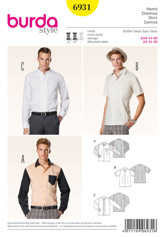 Burda - BD6931 Men's Shirts | Average - WeaverDee.com Sewing & Crafts - 1