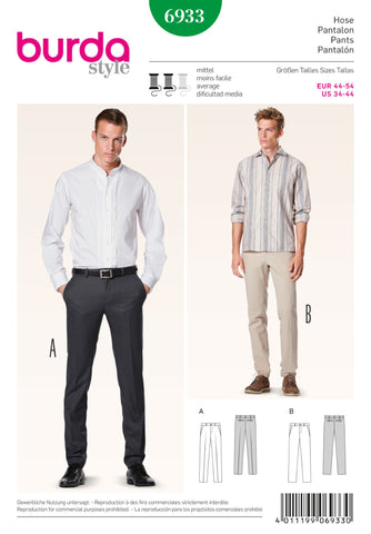 Burda - BD6933 Men's Trousers | Average - WeaverDee.com Sewing & Crafts - 1