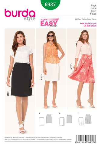 Burda - BD6937 Skirts | Easy - WeaverDee.com Sewing & Crafts - 1