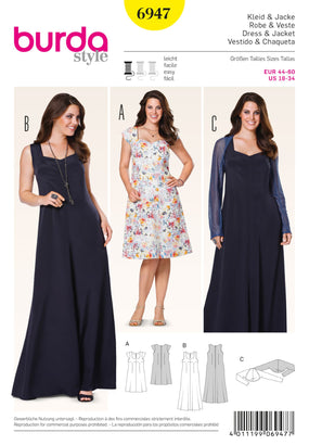 Burda - BD6947 Dress & Jacket | Easy - WeaverDee.com Sewing & Crafts - 1