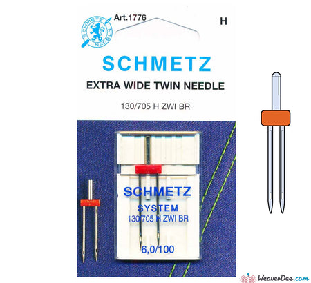 Schmetz - 6mm Twin Machine Needle - Size 100 - WeaverDee.com Sewing & Crafts - 1