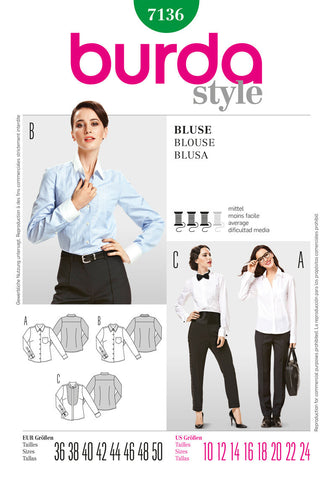 Burda - BD7136 Misses Blouse - WeaverDee.com Sewing & Crafts - 1