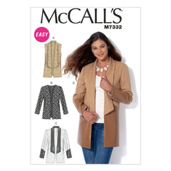 McCall's - M7332 Misses' Open Front Vest & Jackets - WeaverDee.com Sewing & Crafts - 1