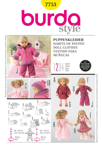 Burda - BD7753 Doll Outfits | Easy - WeaverDee.com Sewing & Crafts - 1