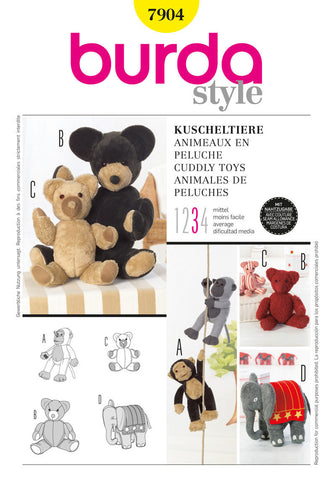 Burda - BD7904 Stuffed Animals - WeaverDee.com Sewing & Crafts - 1